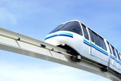 Mono rail. A white and blue mono-rail train stock photo