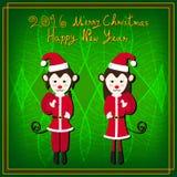 Mono Santa Green Background de la Feliz Navidad Imagen de archivo libre de regalías