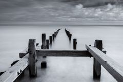 MOno Seascape, Norfolk coastline sea defences, England, uk Royalty Free Stock Images