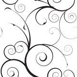 Mono teste padrão floral simples Imagens de Stock Royalty Free