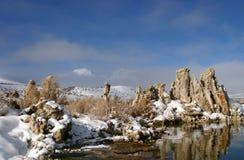 mono wintertime för lake arkivfoton