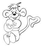 Mono y corazón Foto de archivo libre de regalías