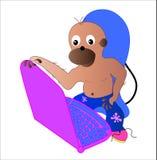 Mono y ordenador. Imagen de archivo libre de regalías