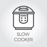 Monoanschlaglinie Ikone des langsamen Kochers Elektronisches Topftopf- oder -dampferentwurfsbilddagramm Küchenausrüstungsaufklebe Stockfoto