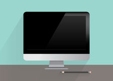 Monoblock personal computer flat design Royalty Free Stock Images