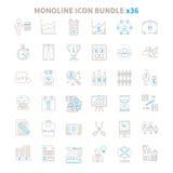 Monobundel 36 van het lijn vectorpictogram punten Stock Afbeelding