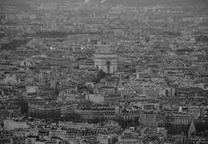Monochome του Παρισιού από την κορυφή Στοκ Φωτογραφία