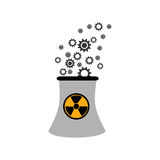 Monochorme silhouette nuclear reactor with hazard symbol. Vector illustration Stock Photo