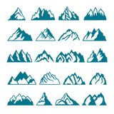 Monochromów obrazki ustawiający różne góry Wektorowe kolekcje dla etykietka projekta royalty ilustracja