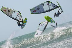 Monochrom - jumping of the windsurfer Stock Image