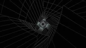 Monochrom neonowe linie wiruje wśrodku tunelu podczas gdy latający przez go, bezszwowa pętla Nowożytny, geometryczny postać tunel royalty ilustracja