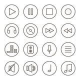 Monochrom umrissene Musik, Audio, solider Vektorikonensatz, Sammlung lokalisiert auf weißem Hintergrund Stockbild