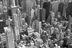 Monochromatic aerial view of  Manhattan Royalty Free Stock Photos
