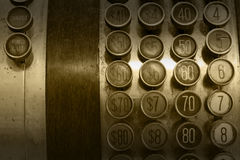 Monochromatic Antique Cash Register Buttons Royalty Free Stock Image