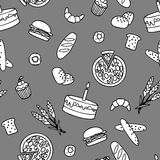 Monochromatic bakery seamless pattern. In simple style Stock Photo