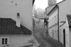 Monochromatic beskåda av gammala gator av Prague. Fotografering för Bildbyråer