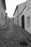 Monochromatic beskåda av gammala gator av Prague. Arkivfoton
