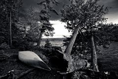 Black and white campsite. Monochromatic campsite in the boundary waters canoe area Stock Image