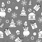 Monochromatic Christmas seamless pattern Stock Image