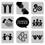 Monochromatic cooperation icons Royalty Free Stock Photo