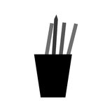 Monochromatic cup pencils pens utensils working Royalty Free Stock Photography