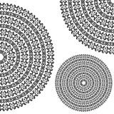 Monochromatic ethnic textures. Round whole, half and quarter ornamental vector shapes. Isolated on white. oriental arabesque pattern background. Vector Stock Image