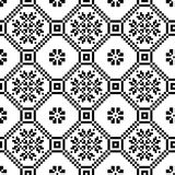 Monochromatic etnisk sömlös bakgrund sömlösa texturer i svartvita färger Royaltyfria Foton