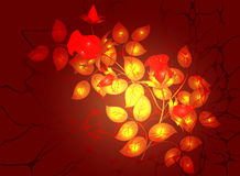 Monochromatic floral arrangement in a Golden and fiery colors, vignette on dark red background. EPS10 vector Stock Images