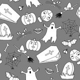 Monochromatic halloween seamless pattern. In simple style Stock Photography
