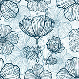 Monochromatic poppy flowers seamless pattern Stock Image