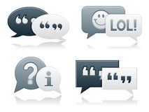 Monochromatic Smooth Chat Bubbles Stock Photos