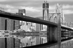 Monochromatic view of Brooklyn Bridge Royalty Free Stock Photos