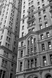 Monochromatic view of the old skyscrapers. Royalty Free Stock Images