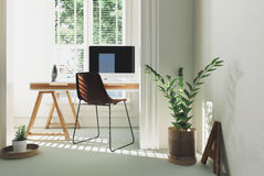 Monochromatic white home office interior Royalty Free Stock Image