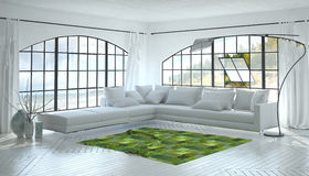 Monochromatic white living room interior Stock Photos