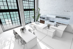 Monochromatic white loft conversion interior Stock Photo