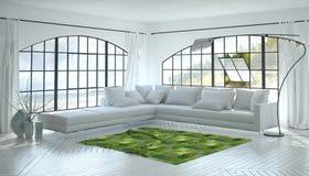 Monochromatisch wit woonkamerbinnenland stock foto's