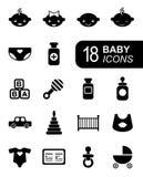 Monochromatische vlakke babypictogrammen royalty-vrije illustratie
