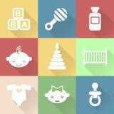 Monochromatische vlakke babypictogrammen met schaduwen stock illustratie