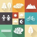 Monochromatische vlakke stadselementen met schaduwen voor het creëren van uw kaart stock illustratie
