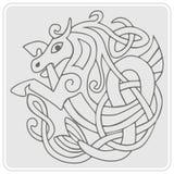 monochromatyczna ikona z celt sztuką i etnicznymi ornamentami Zdjęcie Royalty Free
