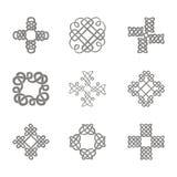 Monochromatyczna ikona z ustaloną Celtycką sztuką i etnicznymi ornamentami Fotografia Royalty Free