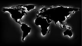 Monochromatyczna mapa świat z Neonowymi światłami ilustracja wektor