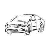 Monochromatyczna ręka rysujący samochód na białym tle Zdjęcia Royalty Free