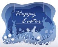 Monochromatyczna Wielkanocna ilustracja w stylu papierowej sztuki z twój tekstem ilustracji