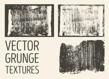 Monochromatyczne abstrakcjonistyczne wektorowe grunge tekstury Set ręka rysujący muśnięcie muska i plamy royalty ilustracja