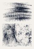 Monochromatyczne abstrakcjonistyczne wektorowe grunge tekstury Set ręka rysujący muśnięcie muska i plamy ilustracja wektor