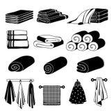 Monochromatyczne ilustracje różni ręczniki Wektoru set odizolowywa na bielu ilustracji