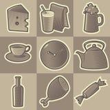 monochromatyczne karmowe ikony Ilustracja Wektor