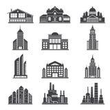 Monochromatyczne sylwetki różni nowożytni budynki i inny miejscy architektura przedmioty ilustracji